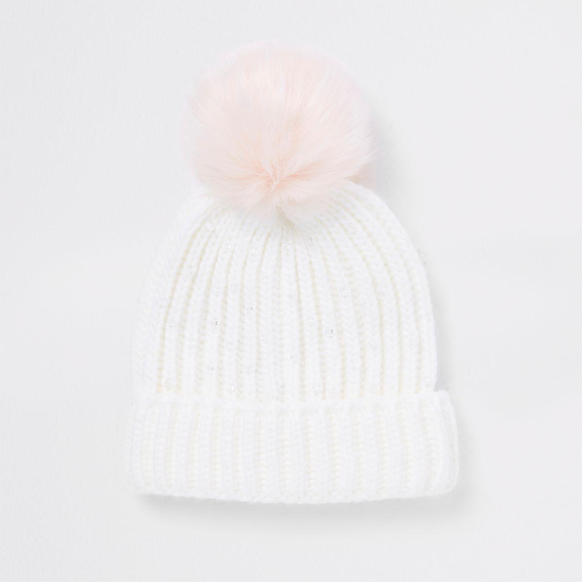 Girls cream embellished pom pom beanie hat