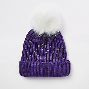 Girls purple embellished faux fur beanie hat