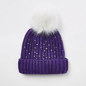 Bonnet en fausse fourrure violet pour fille