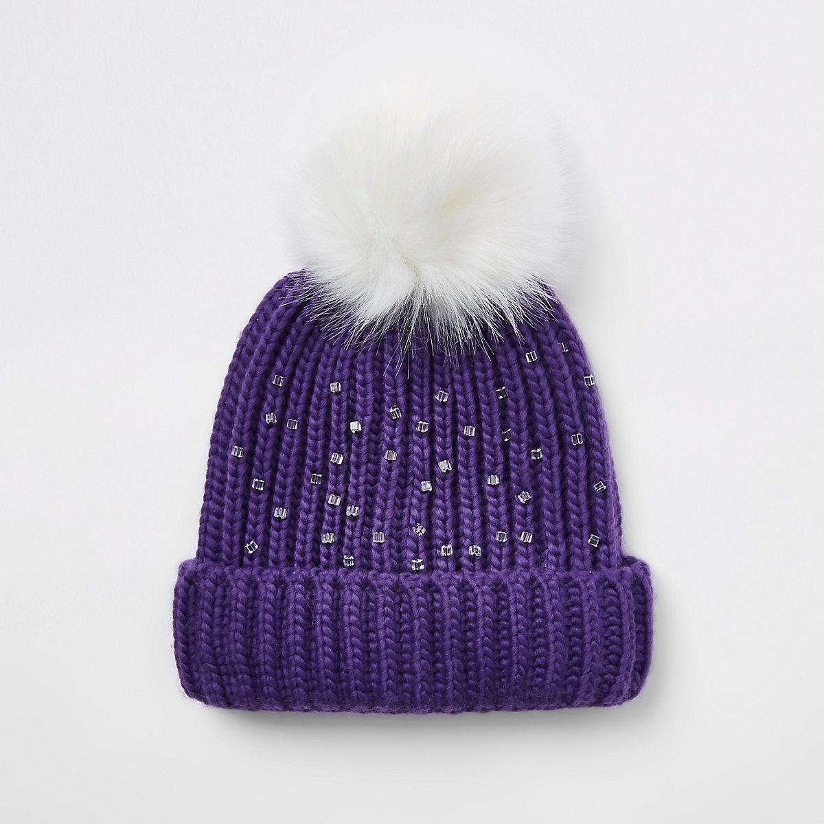 Girls purple embellished faux fur beanie hat