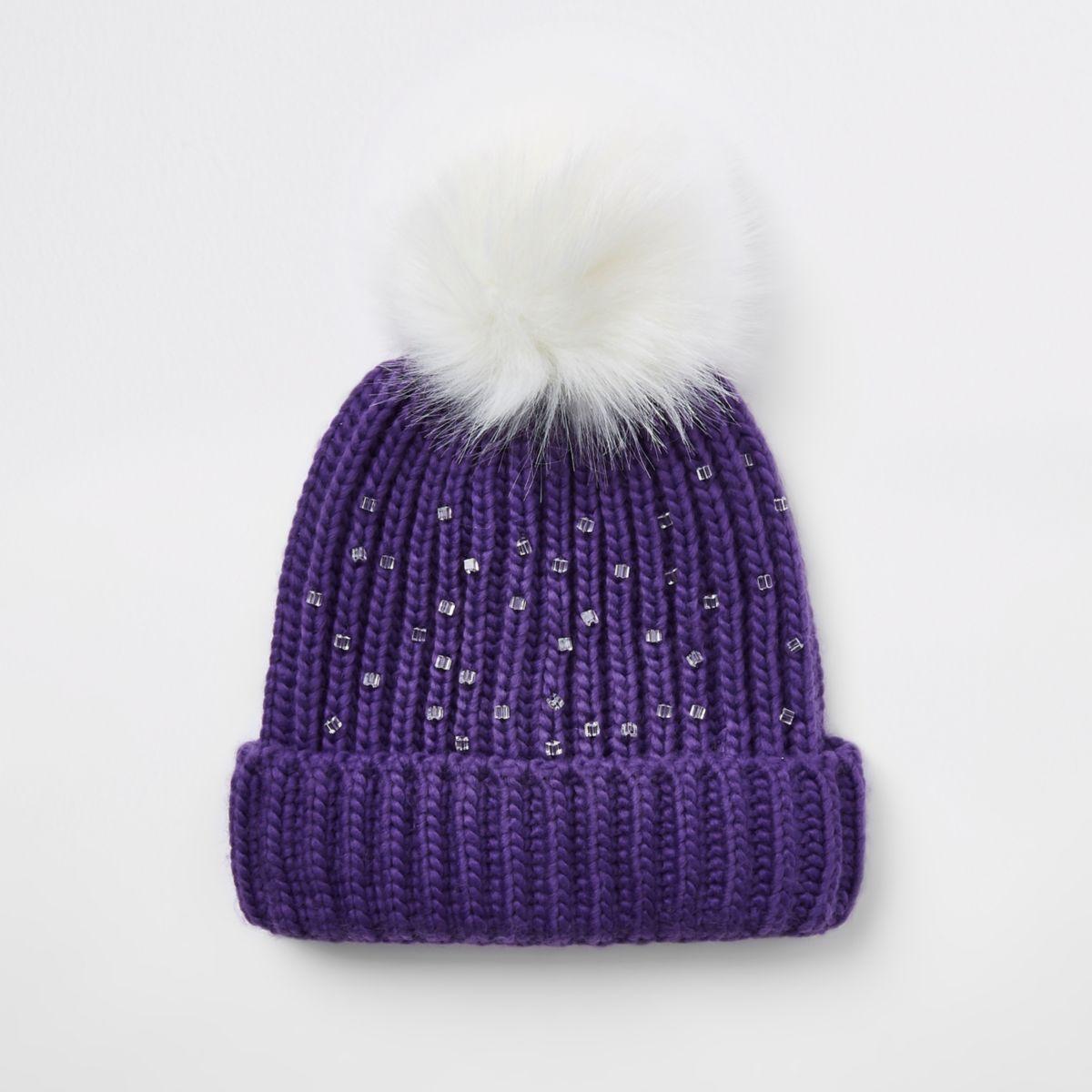 1cd1cb22902c Girls purple embellished beanie hat - Hats - Accessories - girls