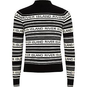 Schwarzer, gestreifter Pullover mit RI-Print
