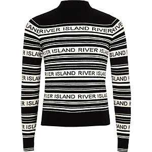 Girls black stripe RI print high neck jumper