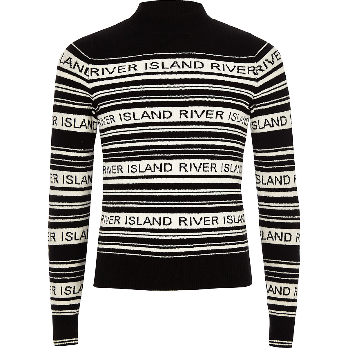Girls black stripe RI print high neck sweater