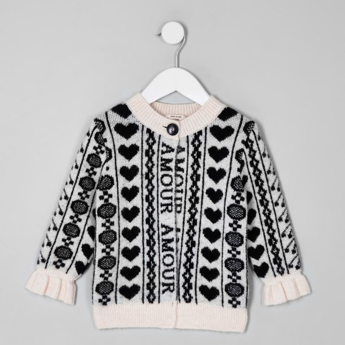 Mini girls black 'amour' print cardigan
