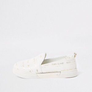 Girls white RI logo slip on plimsolls