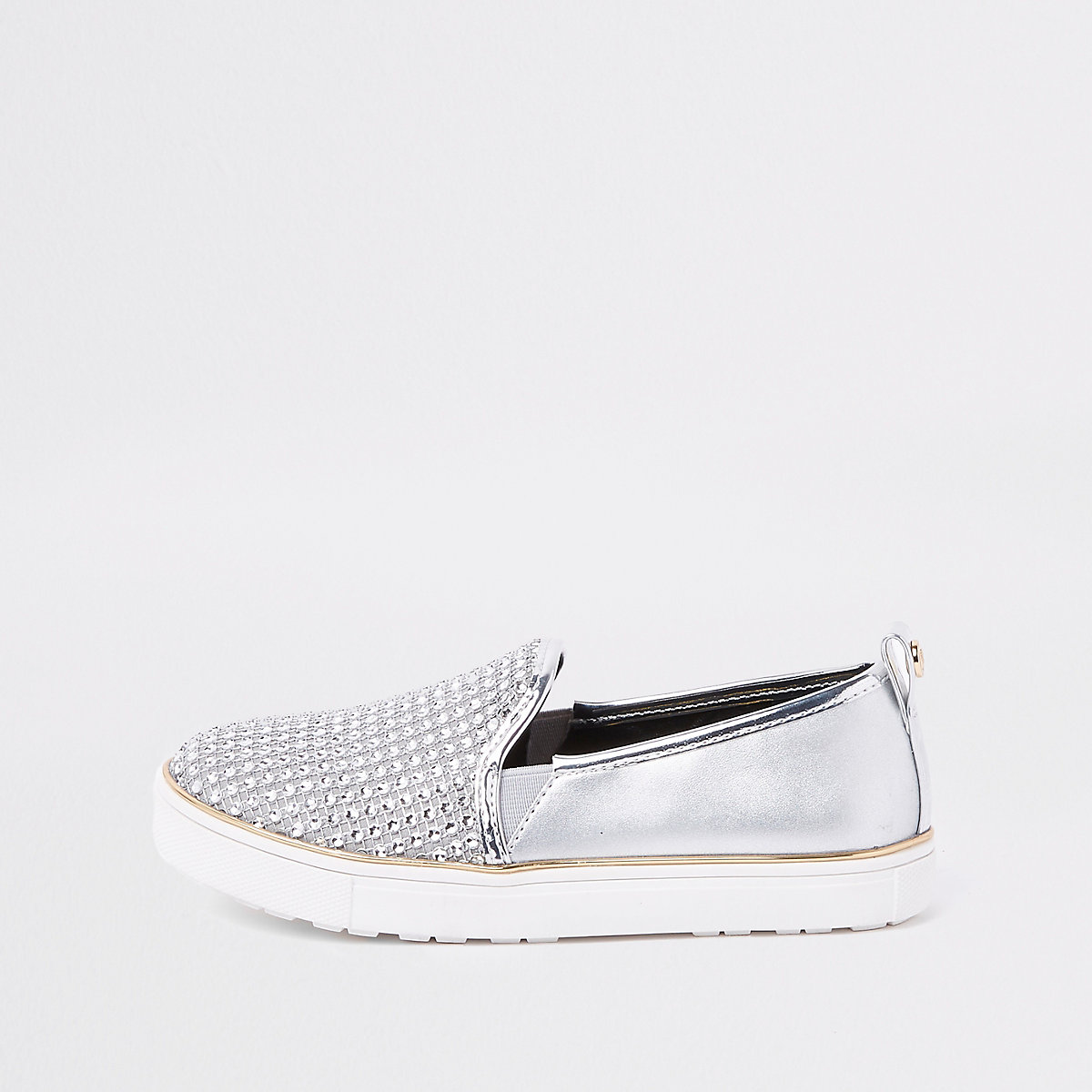 Girls silver metallic studded plimsolls