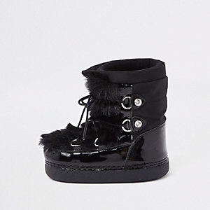 Mini girls black faux fur trim snow boots