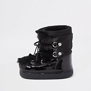 Bottes de neige noires bordées de fausse fourrure mini fille
