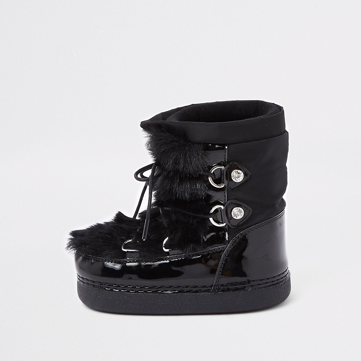 Mini girls black faux fur trim snow boots - Baby Girls ...