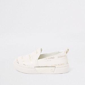 Mini girls white RI logo slip on plimsolls