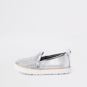 Mini girls silver metallic studded plimsolls