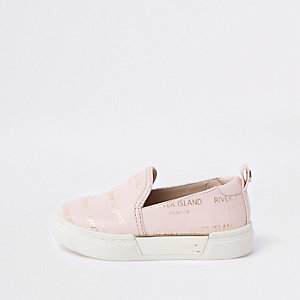 Mini girls RI logo slip on plimsolls