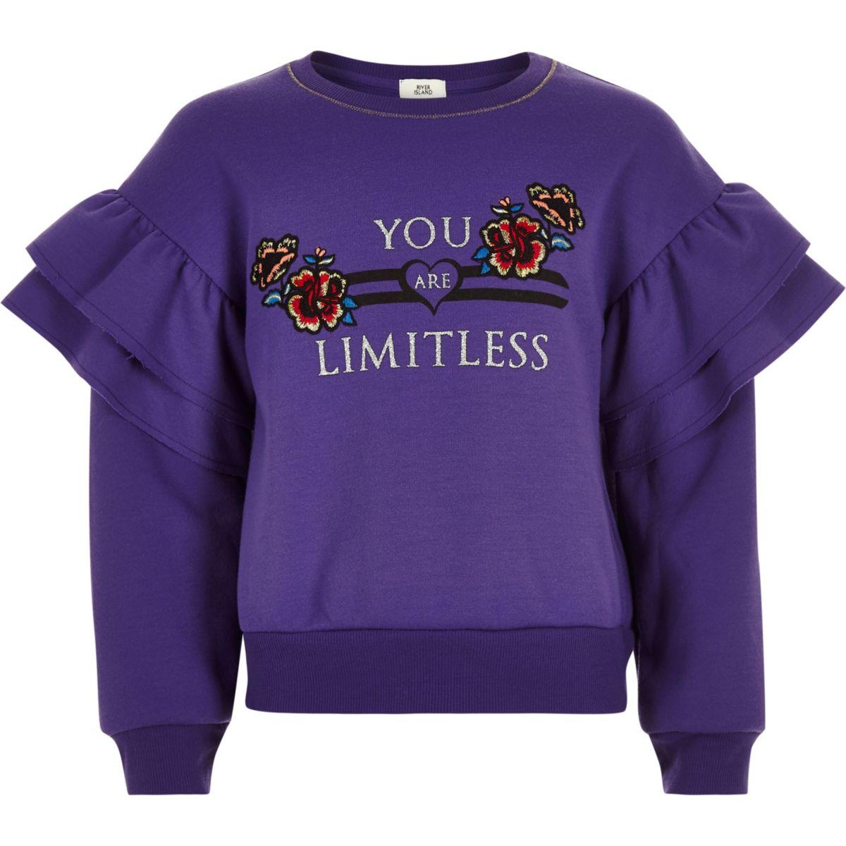 Girls purple 'Limitless' frill sweatshirt