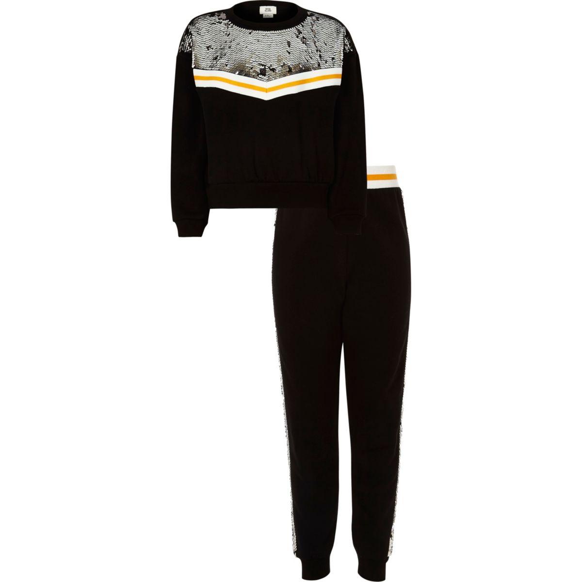 Girls black sequin embellished jogger outfit