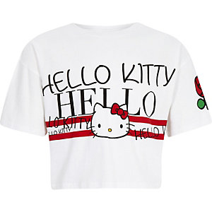 Wit Hello Kitty cropped T-shirt voor meisjes