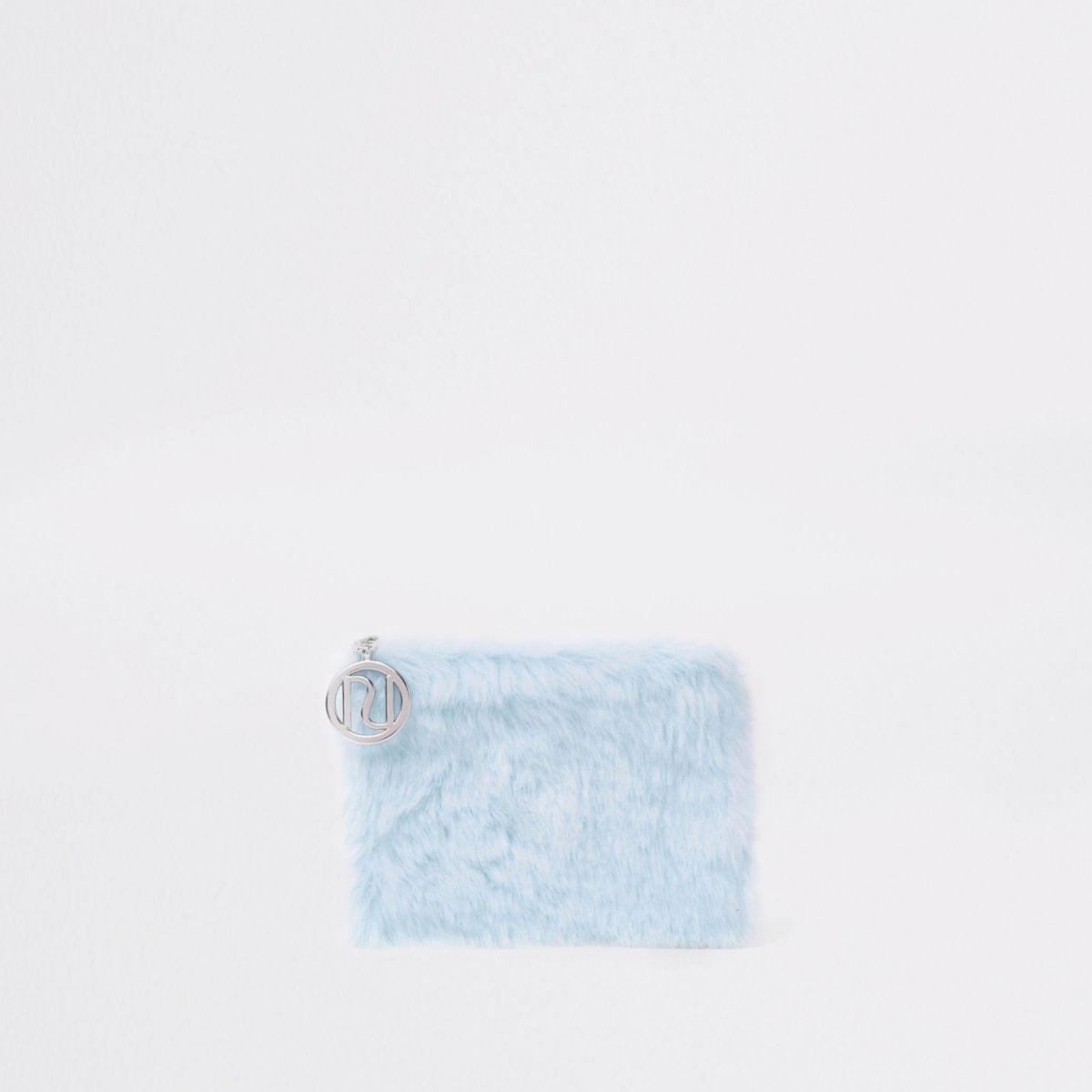 Girls light blue faux fur coin purse