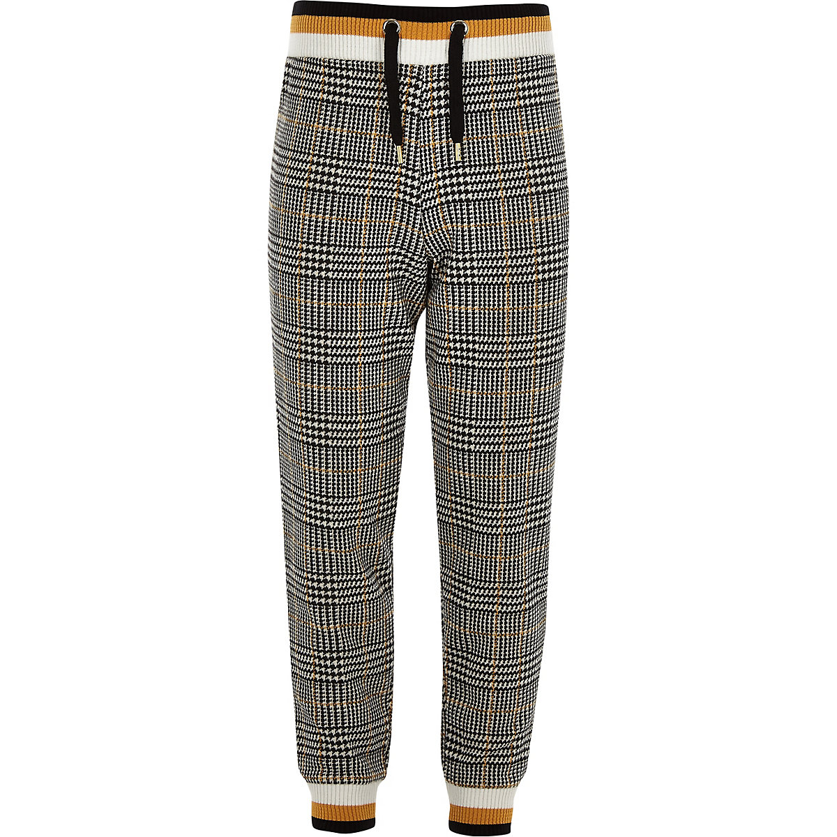 Girls brown check print tipped joggers