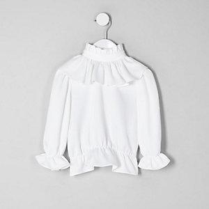 Chemise blanche à volant mini fille