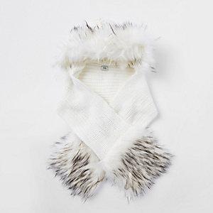 Crème set sjalen met rand van imitatiebont voor meisjes