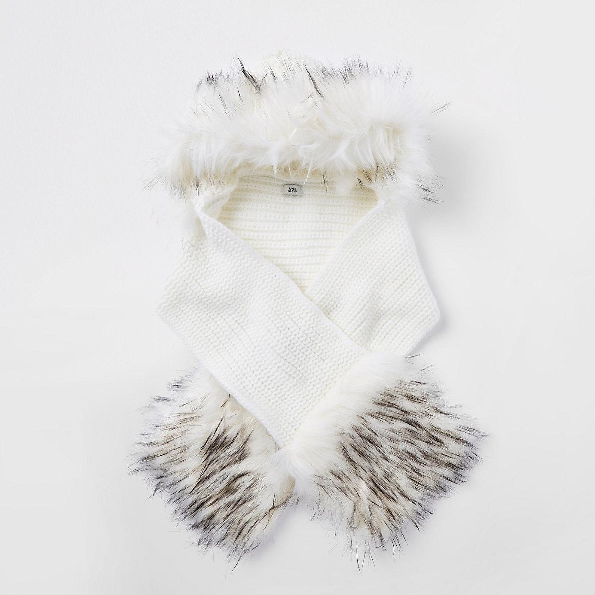 Girls cream faux fur trim scarf set