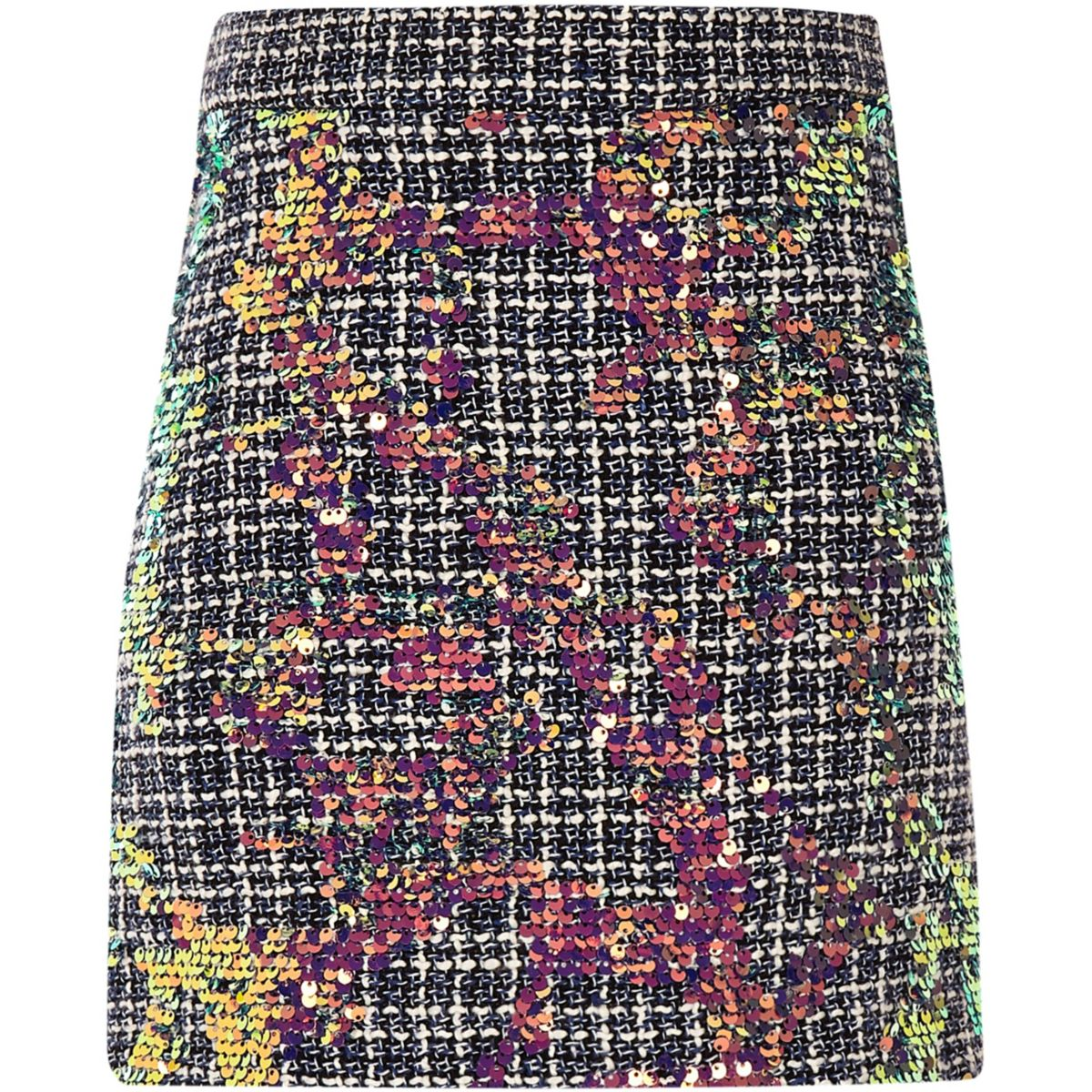 Girls blue boucle sequin A-line skirt