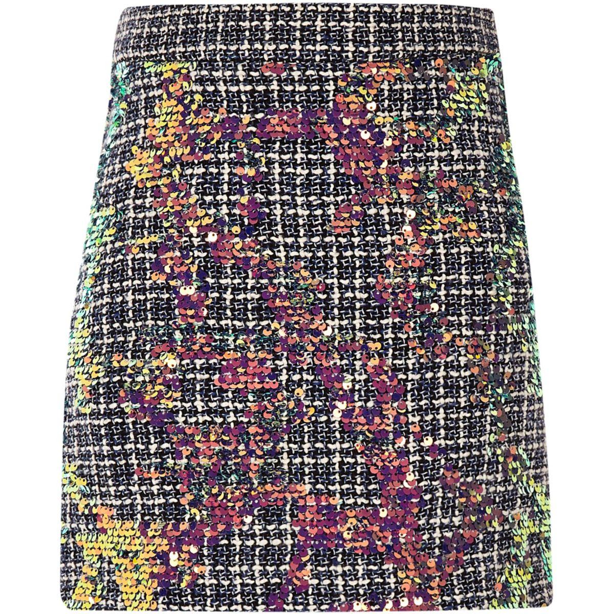 Girls blue boucle sequin A-line skirt