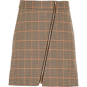 Girls brown check A-line skirt