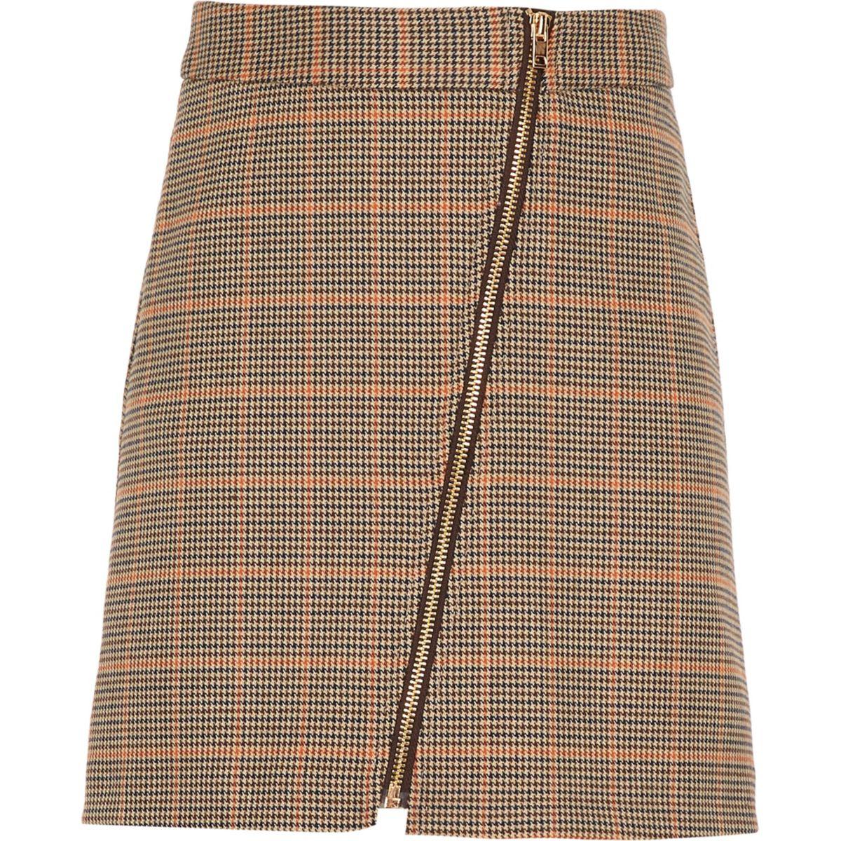 Girls brown check A-line skirt