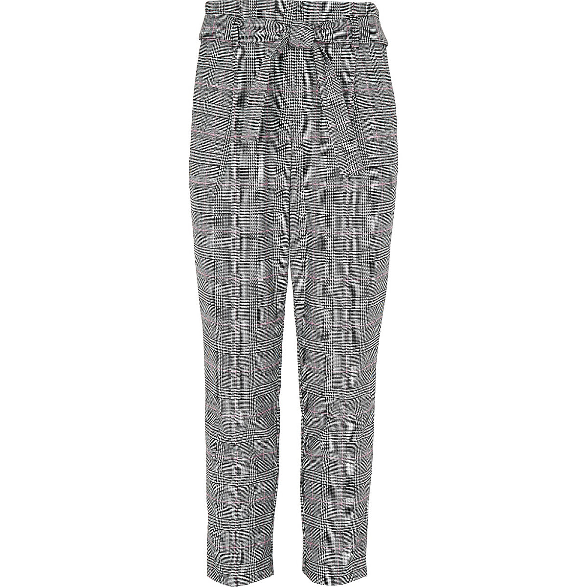 Girls grey and pink check tapered trousers