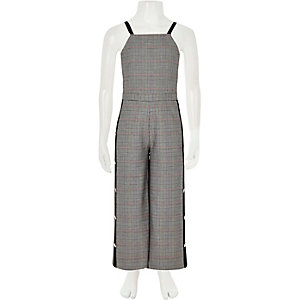 Girls grey check popper tape jumpsuit
