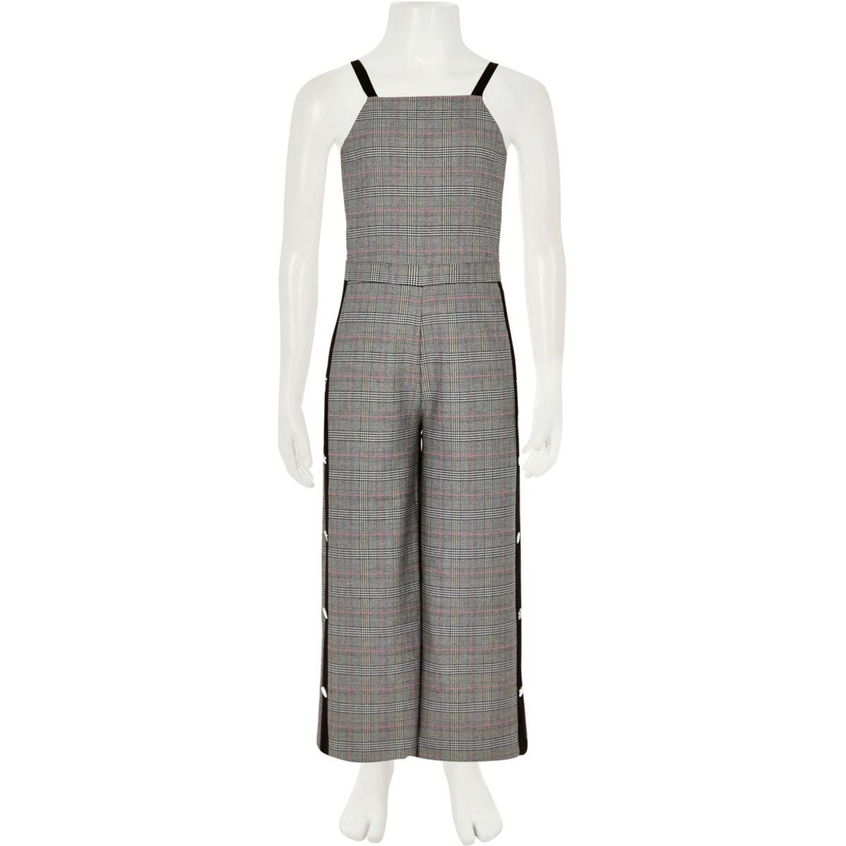 Girls grey check popper tape jumpsuit