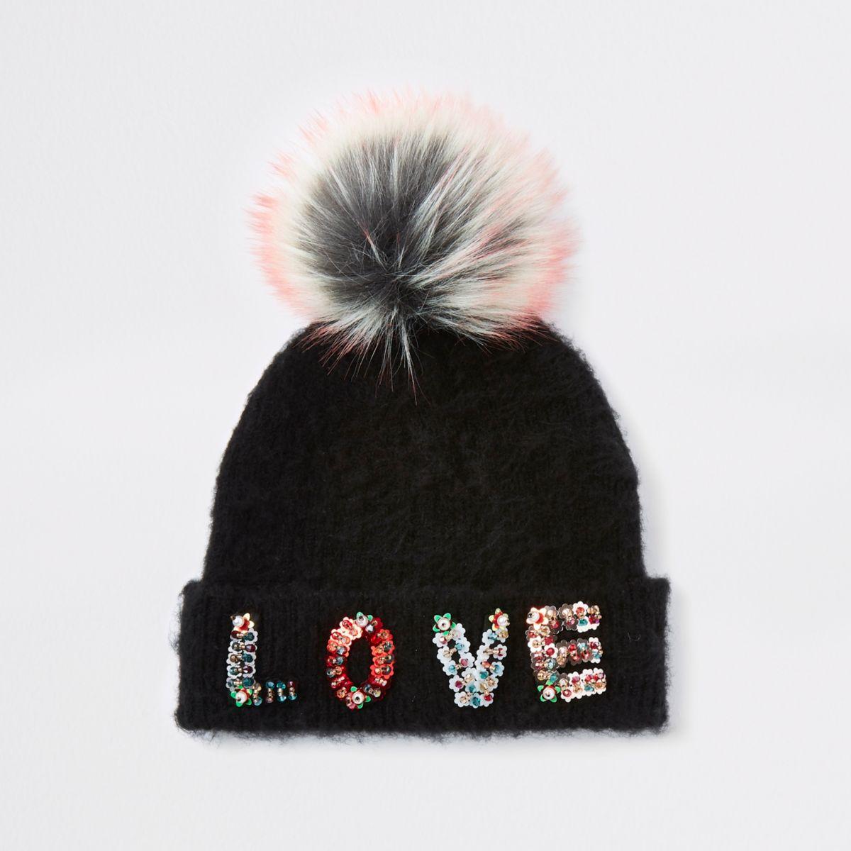 Girls black 'Love' pomp pom beanie hat