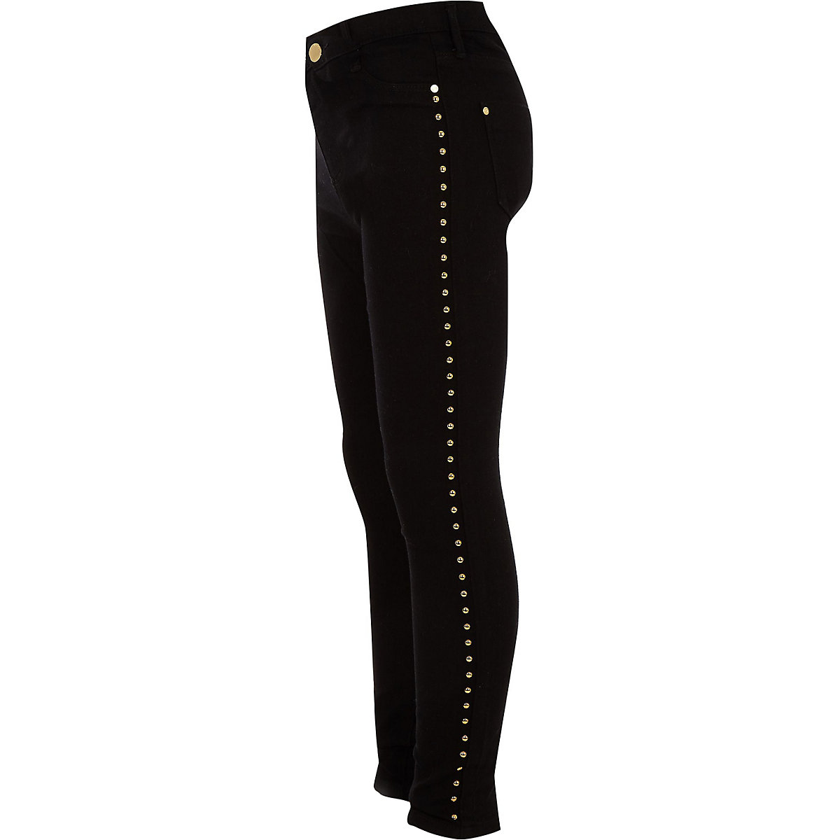 Girls black studded side Molly jeggings