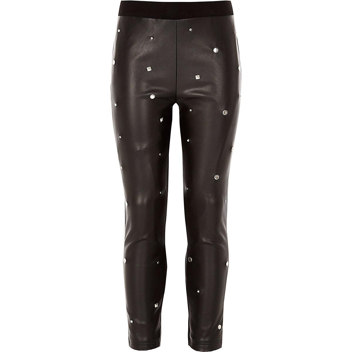 Girls black studded leggings