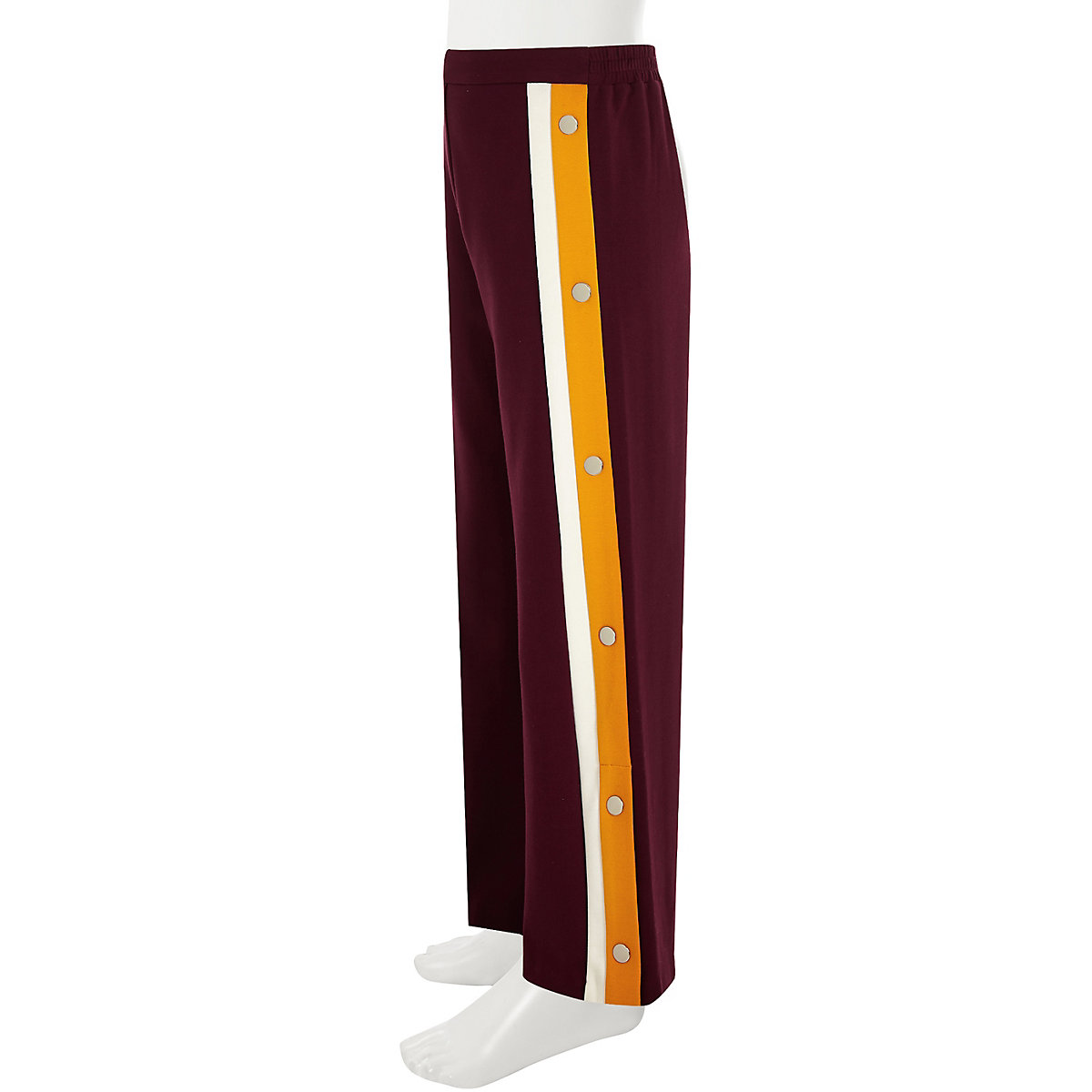 Girls burgundy popper side jogger trousers