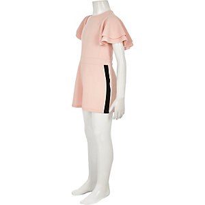 Girls pink frill sleeve tape side playsuit