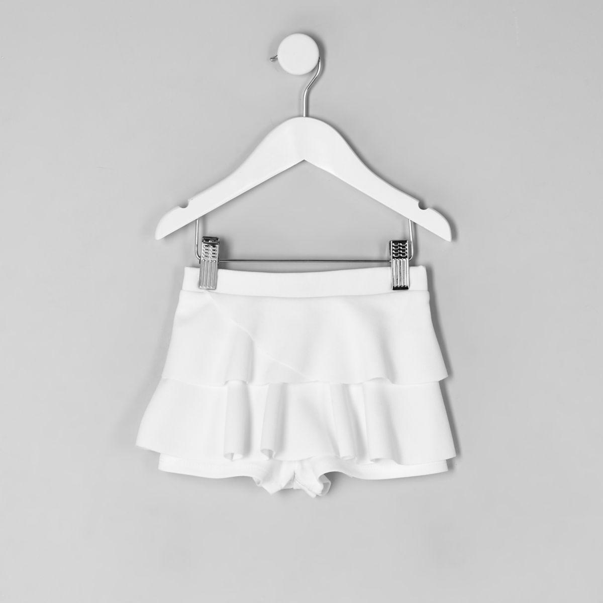 Mini girls white rara frill skort