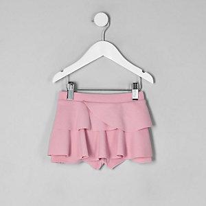 Jupe-culotte courte rose à volant mini fille