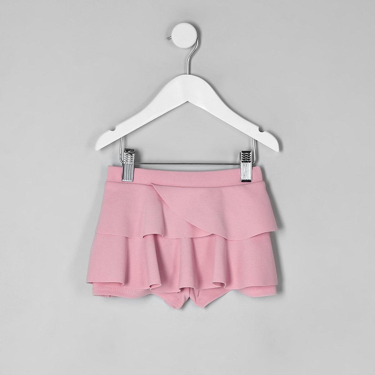 Mini girls pink rara frill skort