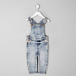 Mini kids blue acid wash overalls