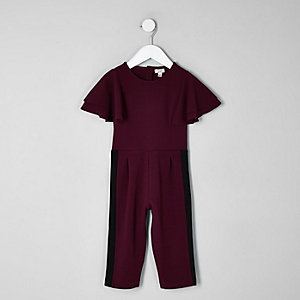 Mini girls berry frill sleeve jumpsuit