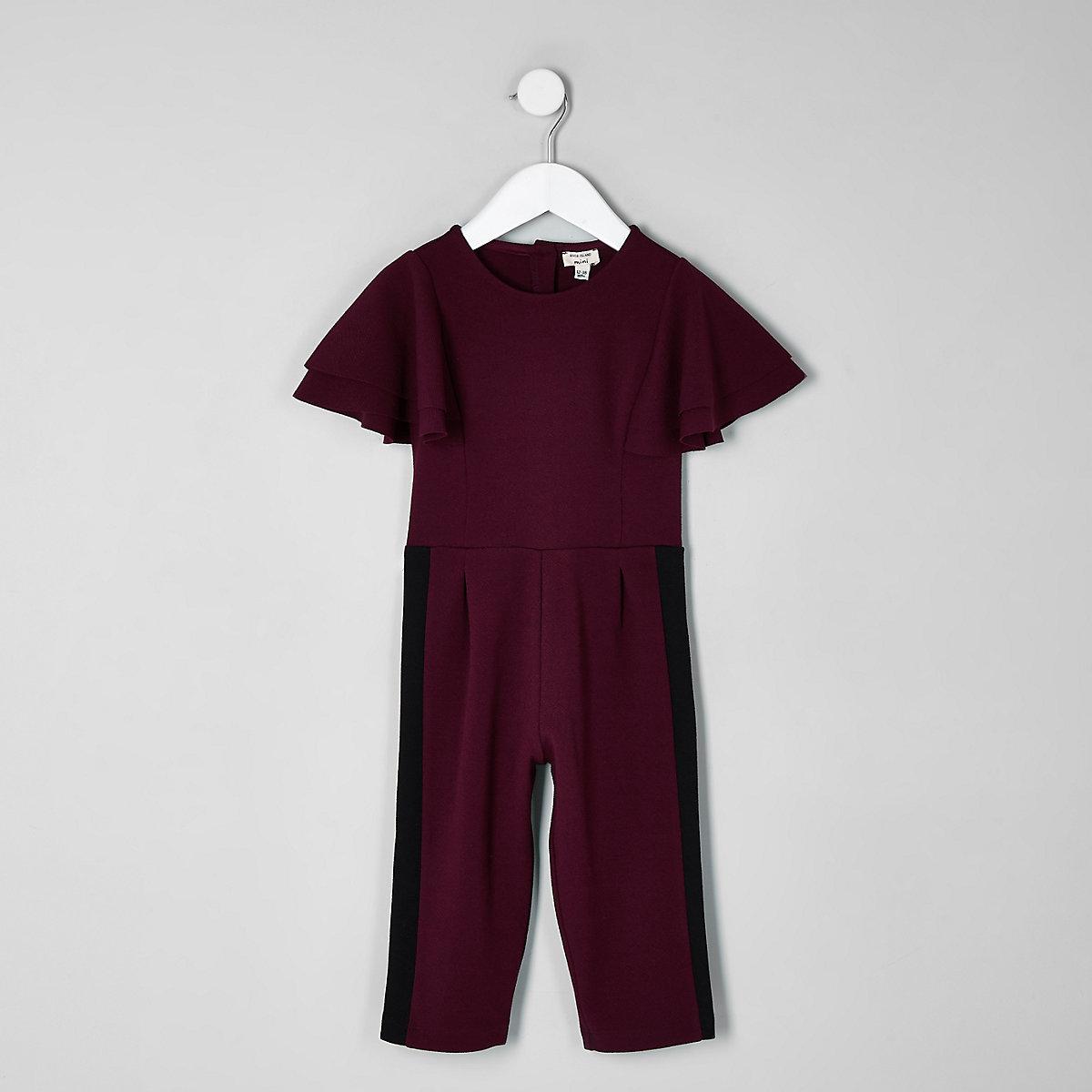 Mini girls berry frill sleeve jumpsuit
