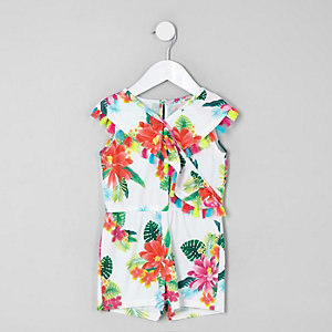 Combi-short imprimé tropical blanc mini fille