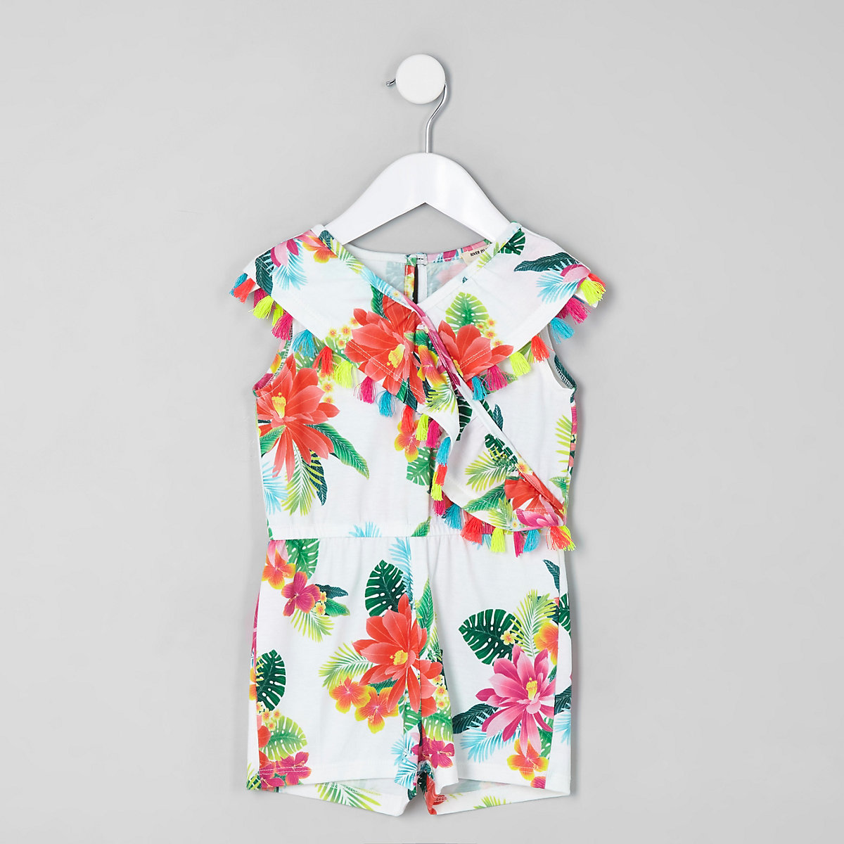 Mini girls white tropical print romper