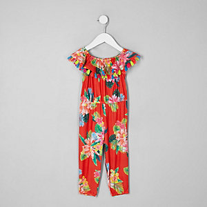 Mini girls red tropical print romper