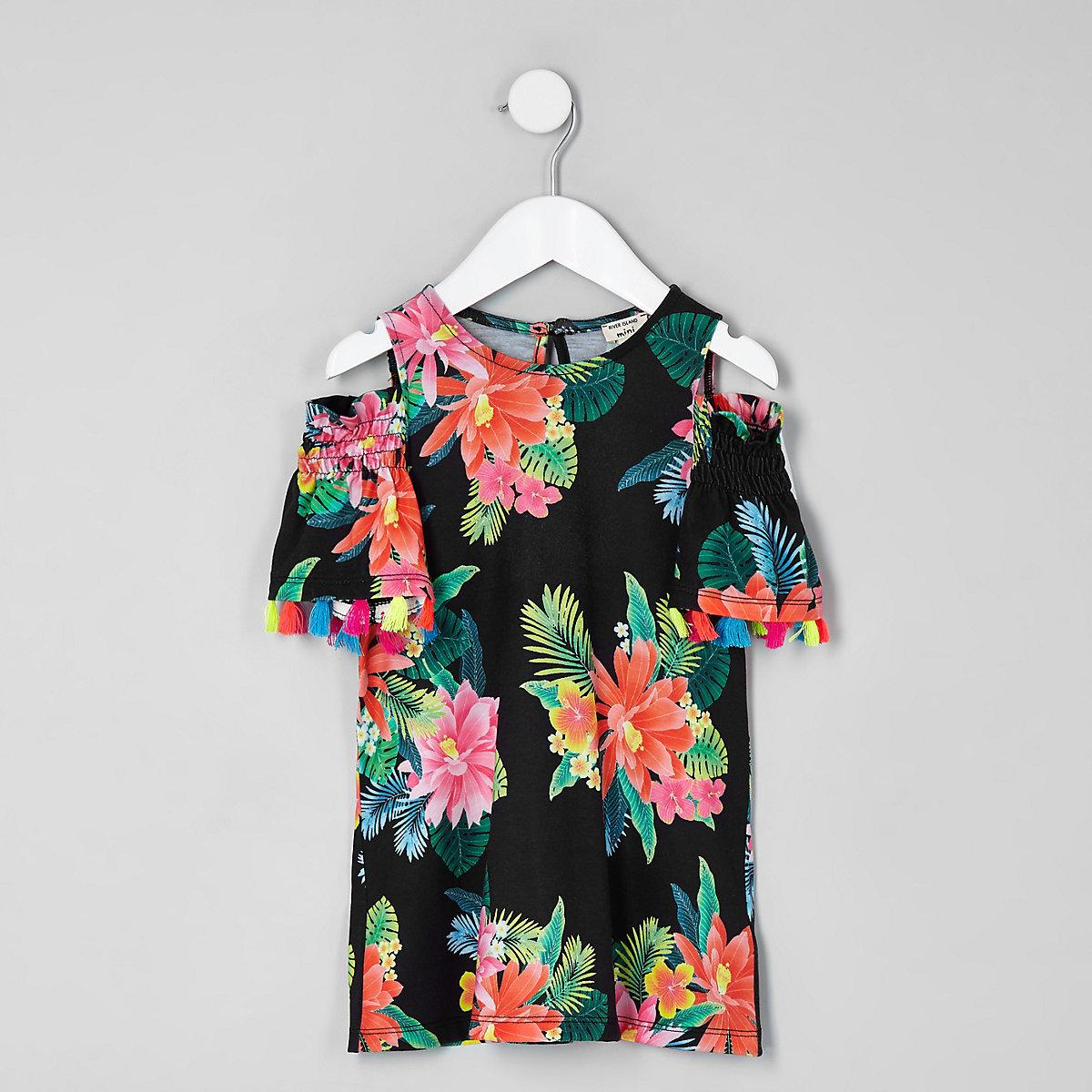 Mini girls black tropical trapeze dress