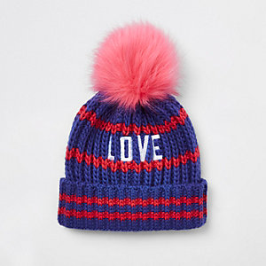 Girls blue 'love' embroidered pom pom beanie