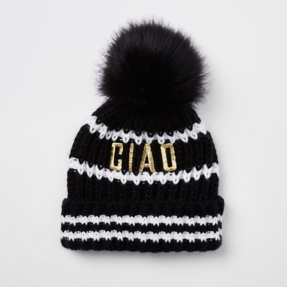 Girls black 'Ciao' faux fur pom pom beanie