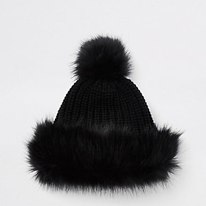 Girls black faux fur trim bobble hat